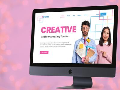 ITeam Landing Page website flat minimal web design saas agency creative user interface ui landing landing page ux
