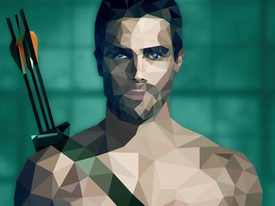 Stephen Amell as The Arrow celebrities tv-show tvshow polygon-art stephen amell arrow polygon debut the arrow