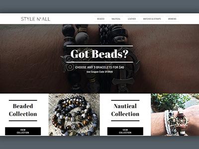 Style N' All Men's Bracelets Website Design photography minimal accessories fashion wrist bracelets mens web design webdesign ecommerce