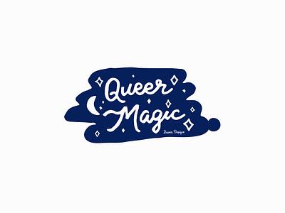 Queer Magic pride lgbtqia typography bianca designs vector illustration design