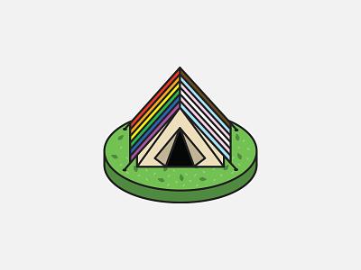 Campy Pride Tent lgbtqia isometric tent nature campy camping vector bianca designs pride illustration design