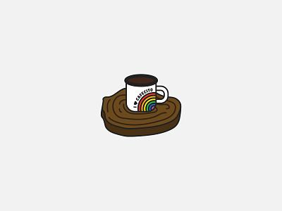 I <3 Cafecito Rainbow Mug rainbow mug cafecito coffee vector bianca designs campy camping lgbtqia pride illustration design