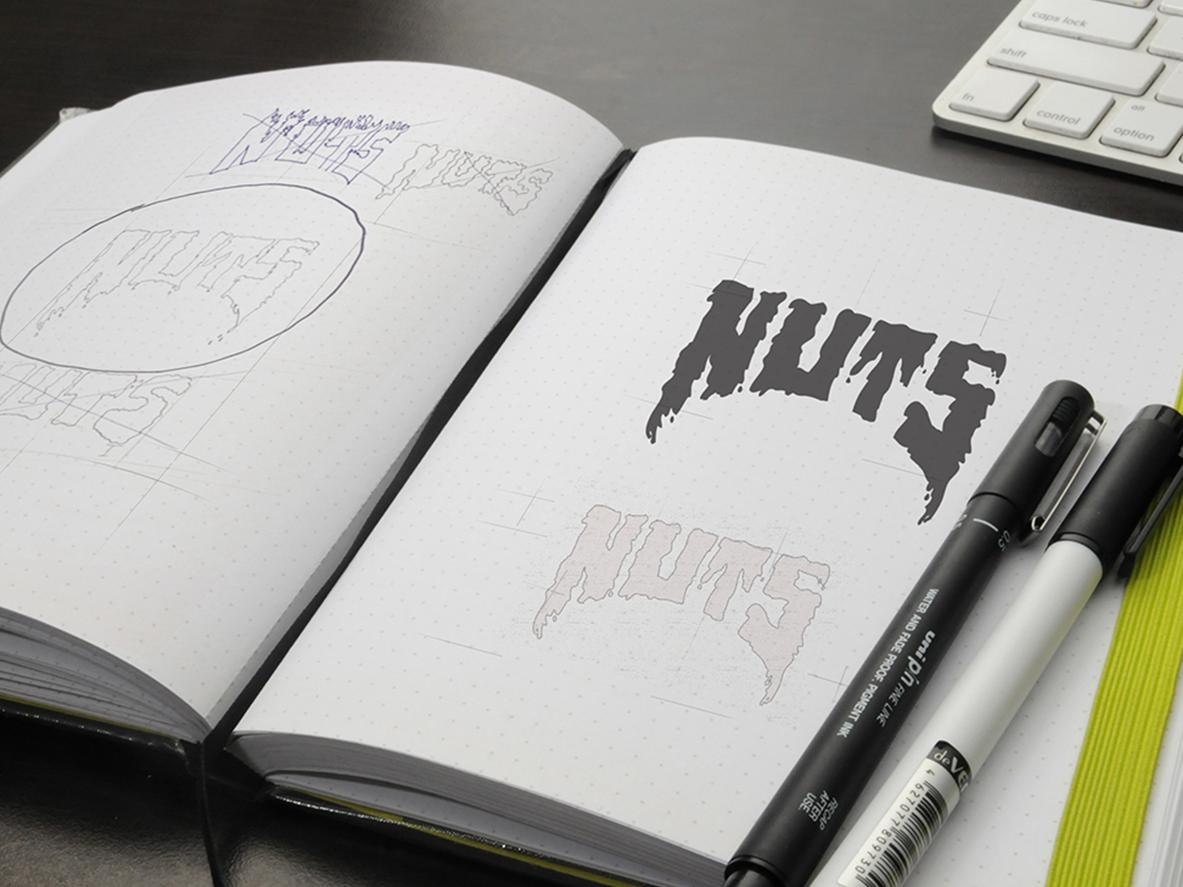 NUTS Logo typography skateboard branding identity design logo