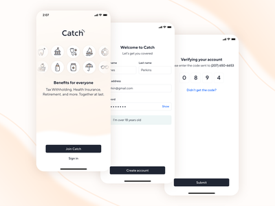 Catch Lobby catch fintech web ios insurance finance benefits sign up sign in registration lobby mobile product design app ux ui