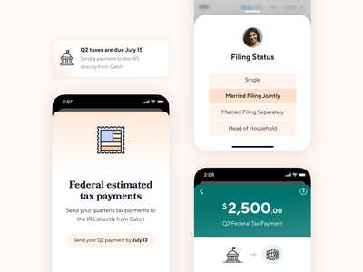 Quarterly Tax Payments taxes confirmation card sheet payments ui product design mobile ios catch finance fintech