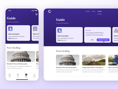 Guide 2.0 purple carousel cards recommendations benefits web app ux ui product design ios fintech finance catch