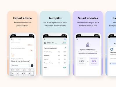 App Store Screenshots uiux conversational ui chat android app native fintech branding health insurance product design app ui fintech finance taxes insurance benefits catch screenshots apple ios app store