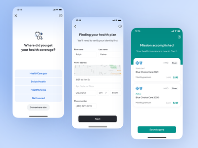 Health Import healthcare finance benefits flow cards import health insurance health insurance ux app fintech catch ios ui product design