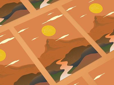 Mountain Canvas Art poster designs Boho Style illustrations article canvas mountains poster design