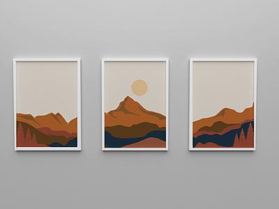 Mountain Wallpaper Poster design illustration canvas mountains poster design