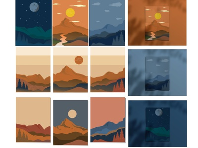 Mountain Poster adventure canvas mountains illustrations poster design