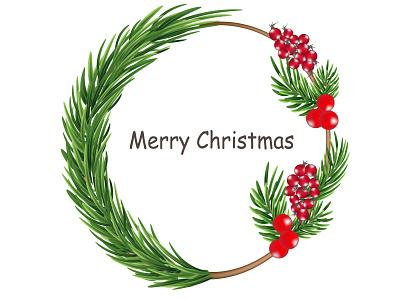 Christmas wreath typography vector design logo illustration christmas card christmas