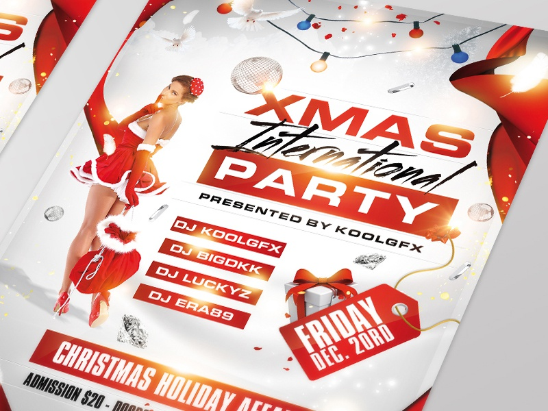 Xmas Club Party Flyer Template xmas christmas club party flyer poster template holidays gift santa clause december