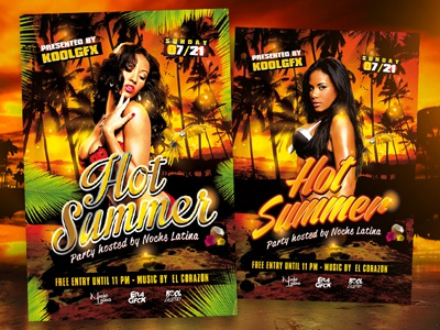 Hot Summer Party Flyer Template hot summer party poster flyer template graphic design photoshop download free psd event