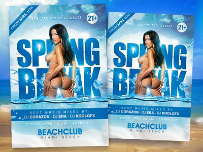 Spring Break Party Flyer spring summer party poster flyer template psd free photoshop club sexy hot
