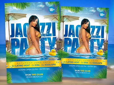 Jacuzzi Party Flyer Template photoshop psd template party flyer poster jacuzzi free club foam spring summer