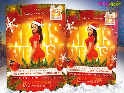 Xmas Eve Bash Party Flyer Template xmas eve bash party flyer template poster psd graphic design christmas photoshop