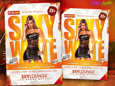 Sexy White Party Flyer Template free download photoshop design graphic template poster flyer sexy white black party