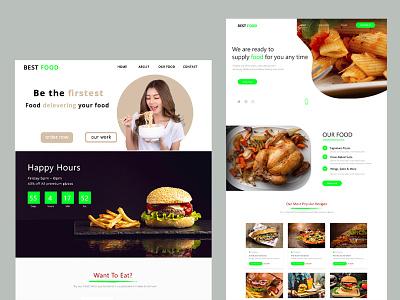 Food website design app design landing page design website design landing page ui