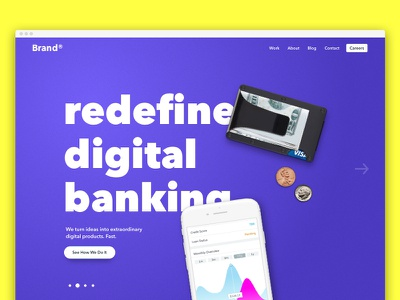 Home page concept bright colors big text
