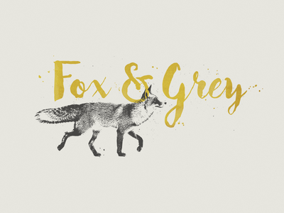 Fox & Grey logomark logo fox grey gold