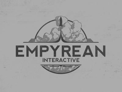 Empyrean Interactive Logomark vintage clouds rocket greyscale logo game video