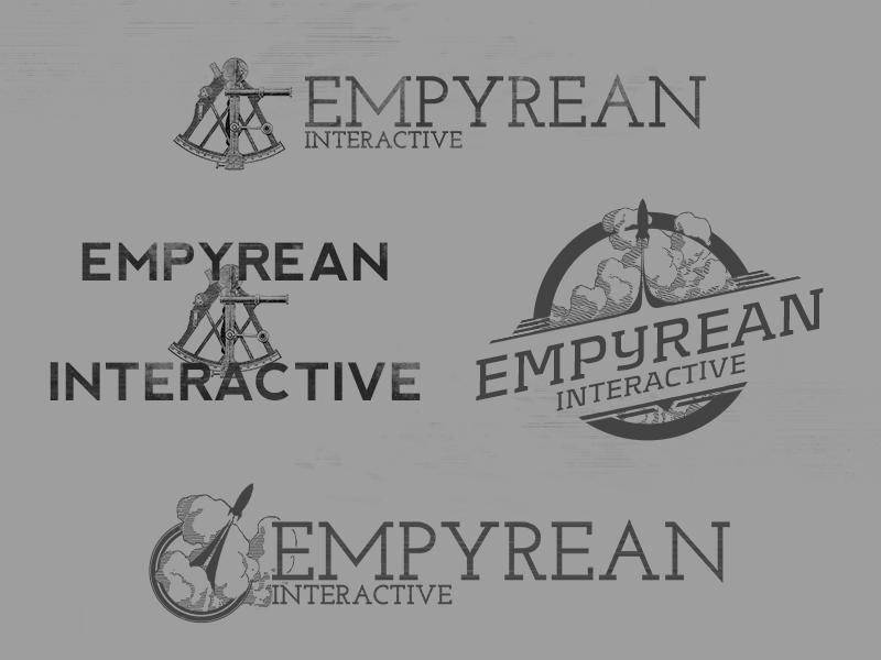 Alternative Logomarks sextant vintage clouds rocket greyscale logo game video