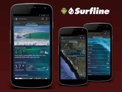 Surfline Concept for Android surfline surf android app concept wave report mobile