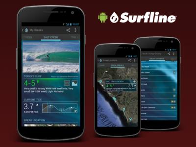 Surfline Concept for Android surfline surf android app concept wave report mobile
