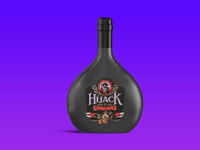 HIJACK LATEST DARK RUM  BOTTLE MOCKUP logo motion graphics graphic design 3d animation new branding download mockup design creative mockup bottle rum dark
