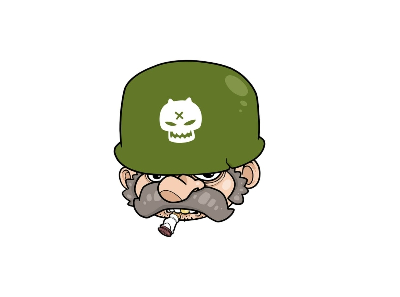 Comrade toughlife captain smoker vector male scout army comrade soldier character cartoon envatoelements envato doodle artwork illustration character design graphic design