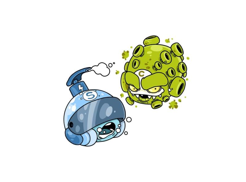 Corona vs Soap coronavirus battle health soap covid19 corona virus pandemic vector character cartoon envatoelements envato doodle artwork illustration character design graphic design