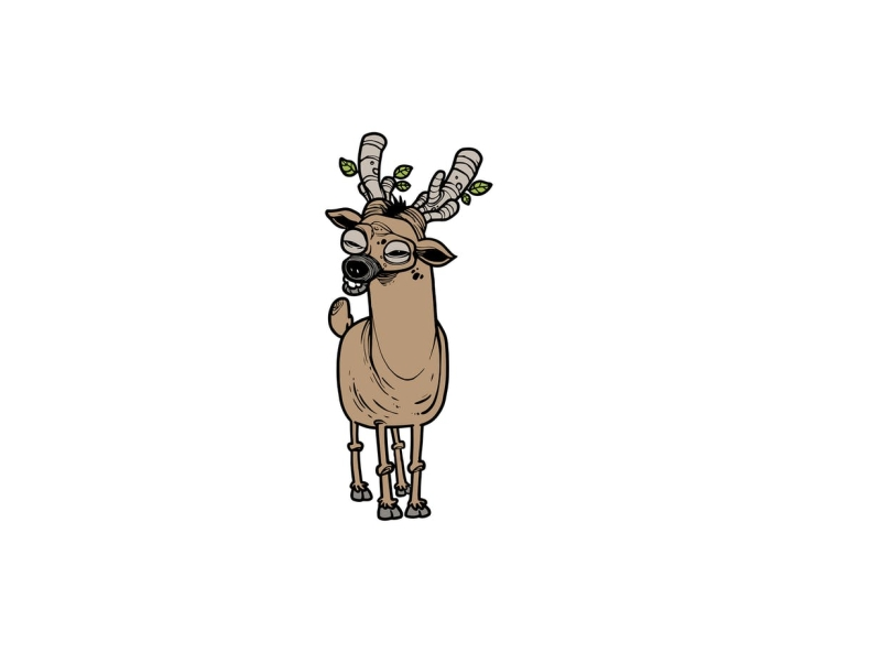Deer elk nature horn herbivore venison animal deer vector character cartoon envatoelements envato doodle artwork illustration character design graphic design