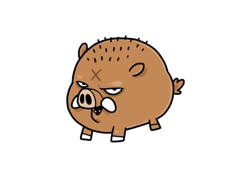 Wild Boar wild feral nature animal species boar pig swine vector character cartoon envatoelements envato doodle artwork illustration character design graphic design