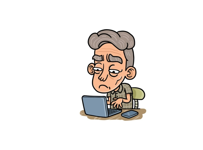 Old man on laptop typing workfromhome laptop sit searching father browsing male oldman vector character cartoon envatoelements envato doodle artwork illustration character design graphic design