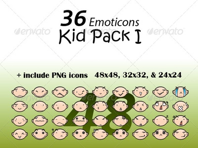 36 Emoticons Kid Pack I