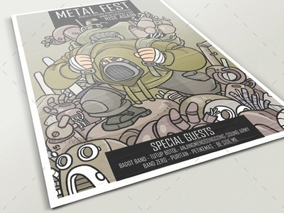 Metal Fest Poster salvage metal poster illustration graphicriver graphic flyer design envatomarket character design