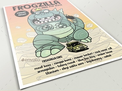 Frogzilla Poster gaijin mosnter king godzilla poster illustration graphicriver flyer graphic design envatomarket character design