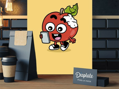Apple artwork merchandise displate tech apple doodle poster illustration graphic design character design