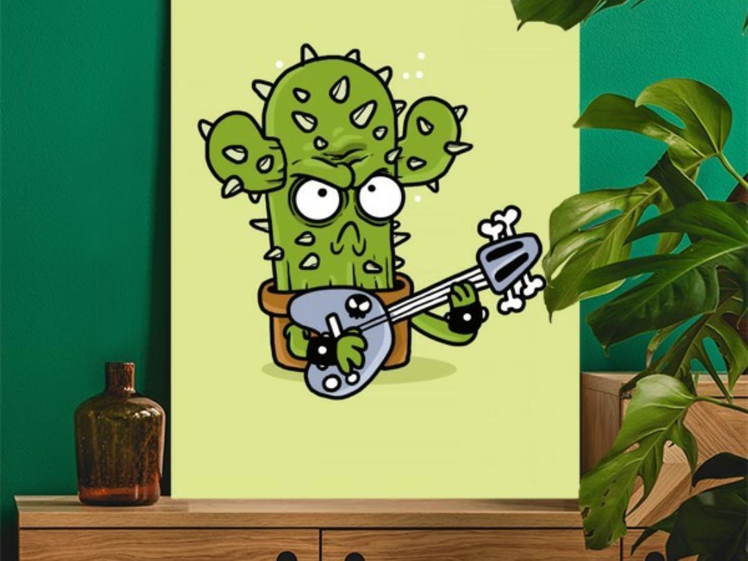 Cactus Guitarist artwork plant rock nature music guitarist bass guitar cactus drawing doodle poster illustration graphic design character design