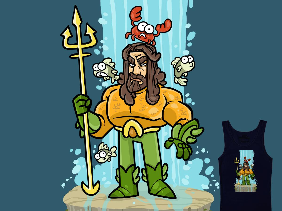 Aquaman Fanart hero waterfall art sci-fi oceanography dc threadless tee shirt fish aquaman artwork drawing doodle poster illustration graphic design character design