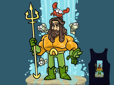 Aquaman Fanart hero waterfall art sci-fi oceanography dc threadless tee shirt fish aquaman artwork drawing doodle poster illustration graphic design character design