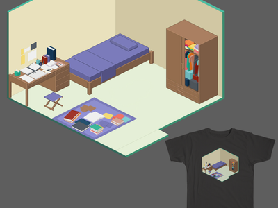 Homestay design isometric store score dressing house furniture sleep homestay threadless merchandise doodle illustration room home artwork art tees sale gienlee