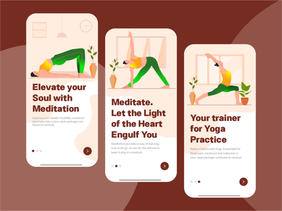 Onboarding Screens for a Yoga App app mindfulness meditation meditation app health yoga landing page user experience product design onboarding ui mobile app design app ui app uiux onboarding page illustration character illustrations web design daily ui uiux