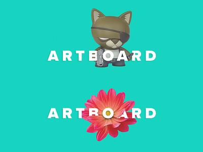Artboard App flower kitty typography artboard logo