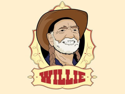 Willie! illustration weed country western cowboy willie nelson