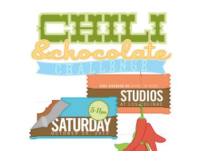 Chili & Chocolate Challenge kids poster typography illustration chocolate chili