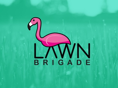 Lawn Brigade pink flamingo illustration logo mowers lawn