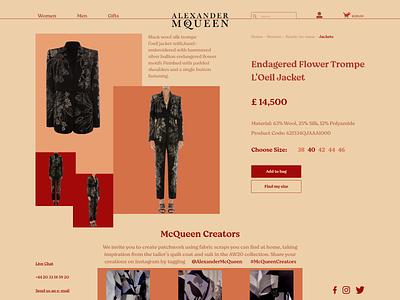 Alexander McQueen shop fashion xd website minimal web ux ui design
