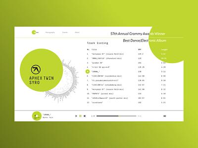 Aphex Twin - SYRO portfolio player music aphex twin logo fashion web design xd web ux ui design